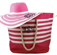 Preppy Pink Monogram Boat Tote in Nautical Stripe is monogrammed for you!