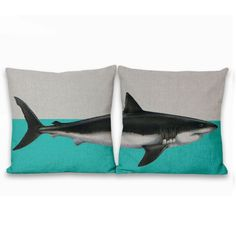 Color Block Shark Two-Piece Zip Pillow Covers by Geo Evolution