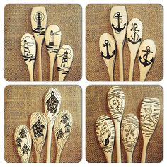 Completed 4 set custom order of #woodburnedspoons. #pyrogr… | Flickr