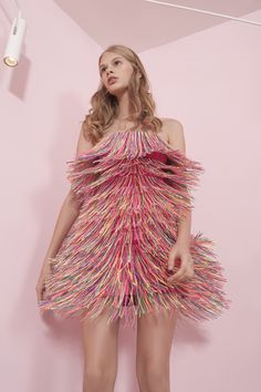 Dafna May pink dress with fringes