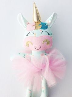Unicorn doll  fabric doll   handmade doll  by LittleSunshineShop11