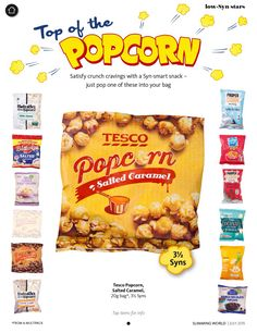 Tesco salted caramel popcorn 20g bag, 3 1/2 syns . Slimming World magazine July 2015
