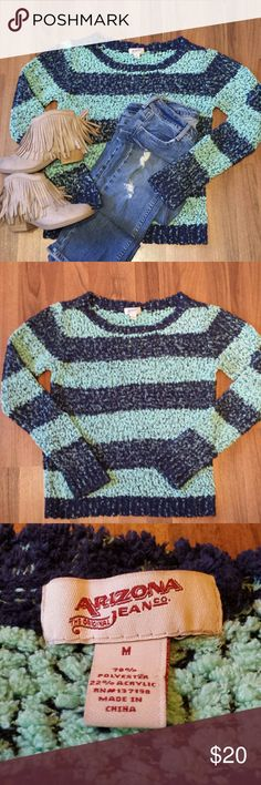 Cozy Striped Sweater ❄ Super soft & cozy, this sweater is perfect for a casual day out shopping! Throw it on with some distressed skinny jeans & booties and you are good to go! The colors are aqua & navy. Sweaters