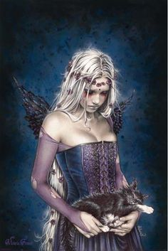 A tearful angel, mourning death, carries her sleeping kitten in this sensational piece of fantasy art from legendary artist Victoria Frances.