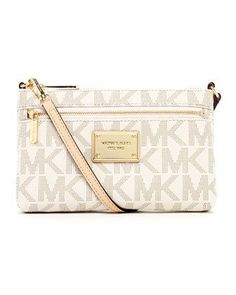Michael Kors Jet Set Vanilla Signature Crossbody Handbag by ...