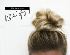 easy messy knot updo for medium hair. How to: Put hair in pony and divide into two sections. Wrap around base of pony and secure with elastic. Gently pull strands to make look messy: