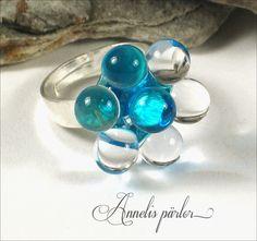 ARTISAN handmade LAMPWORK glass bead ring aqua and by Annelibeads