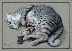 ACEO Original Lazy Cat kitten feline animals pets kitty striped cute grey white #Impressionism