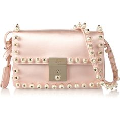 Valentino The Rockstud faux pearl-embellished satin shoulder bag featuring polyvore, fashion, bags, handbags, shoulder bags, pastel pink, pink shoulder bag, valentino handbags, pink purse, valentino purses and pink handbags