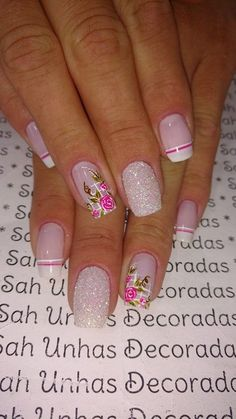Floral and French tips mani Fancy Nails, Pretty Nails, Nail Polish Designs, Nail Art Designs, Nails 2018, Polka Dot Nails, Flower Nails, Manicure And Pedicure, Toe Nails