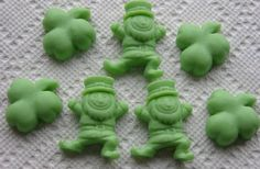 St. Patricks Day Soap -  LEPRECHAUNS & SHAMROCKS Set - Party Favors - Choose Scent and Color - Gift - Custom Orders Welcome -  Hand Made on Etsy, $3.99
