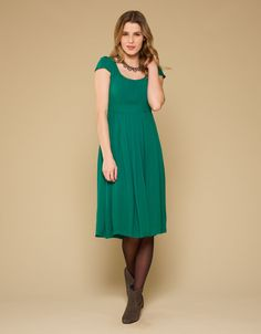 Penny Pleat Front Dress | Green | Monsoon