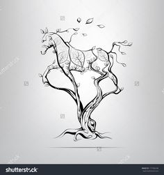 stock-vector-silhouette-of-a-running-horse-in-a-tree-vector-illustration-177786248.jpg (1500×1600)