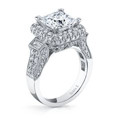 VannaK.com  Diamonds: Round 1.81 Carat / Bagguette 0.23 Carat (not including 3 Caratcenter stone)  The Solea bridal collection, using the micro-pave technique, represents unsurpassed quality, refinement & detail, ensuring the greatest token of love and commitment.