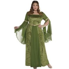 This Plus Size Renaissance Gown for women features green crushed velvet with organza sleeves and an organza panel down the center. Show up to the Renaissance fair wearing this Renaissance Gown! Plus Size Renaissance Dress, Renaissance Costume, Renaissance Fashion, Medieval Dress, Medieval Fair, Medieval Clothing, Renaissance Fair, Fantasy Gowns, 3d Fantasy