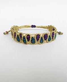 Macrame drops bracelet,Adjustable,Gold,pine green and purple cuff,Makrame wristband,Elegant geometrical boho handmade waxed fiber jewelry