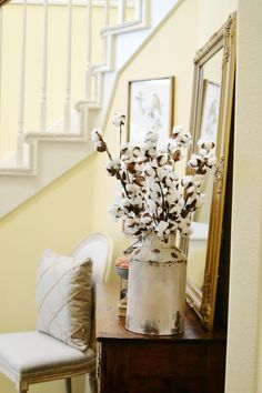 Cotton boles in tin can. Fall Home Tour 2016 - At The Picket Fence