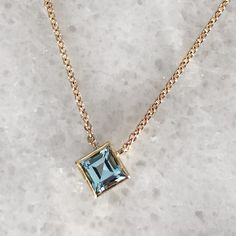 Ellie Square Necklace - Recycled 14k yellow gold and sky blue topaz