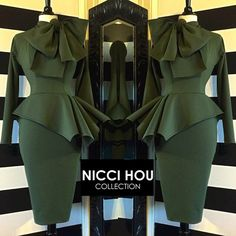Nicci Hou Collection Army Green Peplum Bow Dress