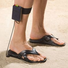 Metal detecting sandals--because it's not weird enough to always be holding a metal detector. :)
