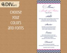 PRINTABLE Wedding Menu, Rehearsal Dinner Menu, Reception Menu - chevron - nautical, navy - navy and hot pink or any colors - 350