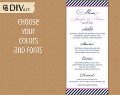 Printable X Wedding Menu Rehearsal Dinner Menu  Stripes Navy