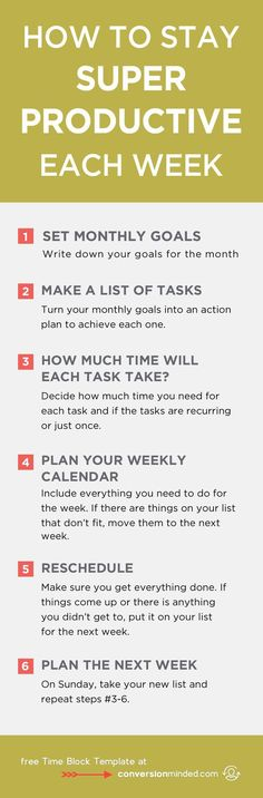 The key to staying productive is to map out what your goals are for each week. On a weekly basis, you should be breaking down each goal into realistic tasks that you can accomplish every day.
