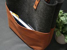 ENVÍO gratuito bolso tote bolso hecho a mano fieltro cuero