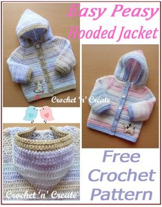 Easy Peasy Hooded Jacket - Simple single and double crochet stitches are used throughout this pattern, I have made it in a variegated yarn, but . Baby Girl Crochet Blanket, Crochet Baby Sweaters, Crochet Hoodie, Crochet Baby Cardigan, Crochet Baby Clothes, Newborn Crochet, Baby Sweater Patterns, Baby Cardigan Knitting Pattern, Beanie Pattern