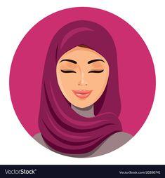 Beautiful muslim arab woman in hijab closing her eyes vector flat icon avatar. Beauty Logo, Beauty Art, Arab Women, Muslim Women, Beauty Life Hacks Videos, Pretty Blue Eyes, Happy Puppy, Children Images, Dog Treats