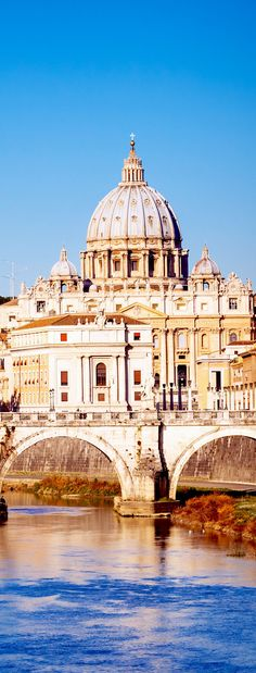 View at Tiber and St. Peter's cathedral in Rome
