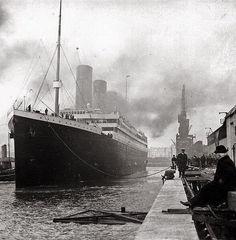 The Titanic leaving port, 1912.
