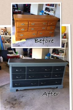 Chalk paint dresser refurb black and gray   Homemade chalk paint and minwax finishing paste