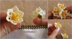 Hanımeli Çiçeği Oya Modeli yapımı Türkçe videolu Yapım aşamalı-Çiçek Oyaları Havlu Kenarı,Yemeni ve Tülbentlere Fular ve Baş örtüsü,Namazlıklar için yakışan bir Çiçekli Tığ Modeli. Yeşil ve sarı to…