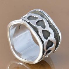925 SOLID STERLING SILVER EXCLUSIVE SPINNER RING 6.63g DJR7414 #Handmade #Ring