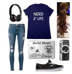 """""""Nerd 4 life"""" by alwaysapotter-head ❤ liked on Polyvore featuring Frame Denim, Vans, Casetify and Beats by Dr. Dre"""