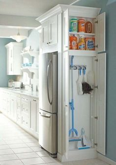 Install+a+small+closet+in+the+kitchen+to+store+cleaning+supplies+-+37+Home+Improvement+Ideas