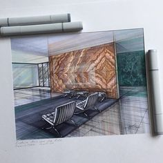Pavilion Barcelona. Mies van der Rohe. My submission for @arch_more sketching challenge #arch_more_jan