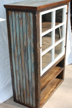 upper cabinets of hutch The Jill Reclaimed Barnwood Farmhouse Cabinet with a Salvaged Window. Barn Wood Crafts, Barn Wood Projects, Furniture Projects, Diy Projects, Repurposed Furniture, Rustic Furniture, Painted Furniture, Diy Furniture, Industrial Furniture