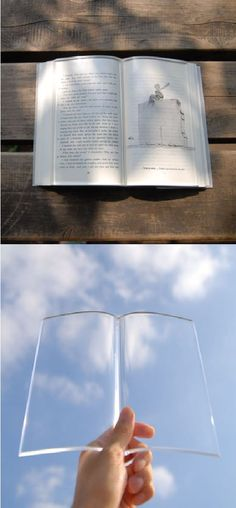 A transparent acrylic paperweight to hold down the pages of a book as you eat and drink while reading