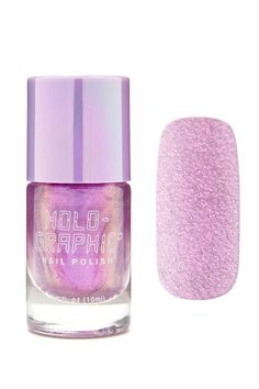 A holographic nail polish featuring an electro purple shade and a cap with a brush applicator.