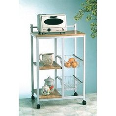 Microwave Cart by World Imports Furnishings. $62.99. 16701 Features: -Microwave cart.-Additional storage shelves.-Metal storage baskets. Construction: -Steel construction. Color/Finish: -Combination of white and natural finish. Assembly Instructions: -Assembly required.