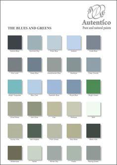 Nuancier de bleus et de verts, peintures à la craie et à la chaux, Autentico Peintures France.