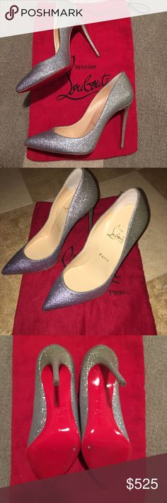 """Christian Louboutin Pigalle Follies 37 Glitter Christian Louboutin silver-to-gold dégradé-effect glitter Pigalle Follies pumps are styled with a pointed toe and the house's signature slim stiletto heel.   Great condition. Minimal wear on heel. Comes with dust bag. Size 37.    4""""/100mm heel (approximately) Self-covered stiletto heel Slips on Smooth leather lining Signature red leather sole Available in Silver/Gold Made in Italy Christian Louboutin Shoes Heels"""