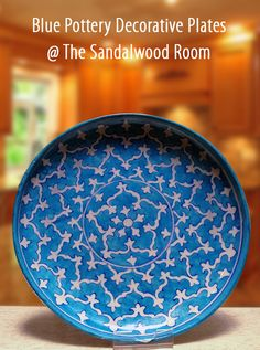Available at The Sandalwood Room Singapore, Jaipur Blue Decorative plates. Product Name: Blue Pottery Decorative Plates   Price : S$ 127.50  Size  :  30.5cm diameter x 5cm  (thick) Available 1 piece