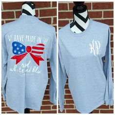 Monogrammed American Flag Bow Long Sleeved Shirt. by ElleQDesigns
