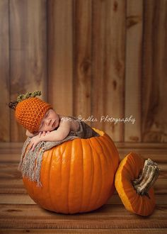 Newborn Harvest Pumpkin Hat Photography Prop by juliehernandez