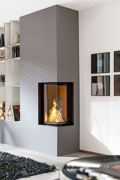 As part of your decor, a modern fireplace can cool even the coolest living . As part of your interior, a modern fireplace can transform even the coolest living spaces into oase Farmhouse Architecture, Farmhouse Interior, Interior Exterior, Interior Architecture, Interior Design, Home Fireplace, Modern Fireplace, Fireplace Design, Fireplaces