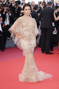 Eva Longoria in Marchesa Pre-Fall 2017 attends the 'The Killing Of A Sacred Deer' screening during the 70th annual Cannes Film Festival at Palais des Festivals on May 22 2017...