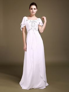 Chiffon Sweetheart Neckline Ruffled Beaded Bodice with Soft Butterfly Style Short Sleeves Backless A-line Style Floor Length Wedding Dresses 2012 clothes